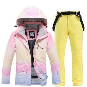 نساء بدلة تزلج سترات التزلج + السراويل المرأة الشتاء تنفس الرياضة الدافئة للماء التزلج Windproof و snowboarding الدعاوى