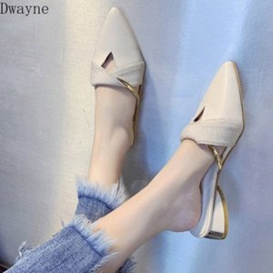 Pointed Toe Half Slippers Women Wear 2020 New Spring And Summer Fashion Flat Wild Color Matching Flat Shoes Cheap Shoes For Women Buy 6Qgm#
