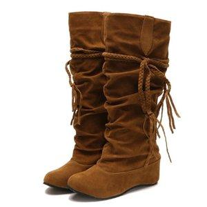 Patlama Kadın Büyük Boots Moda All-maç Kadın saçaklı Boots Avrupa ve Amerikan Yuvarlak Kafa Yüksek bacak