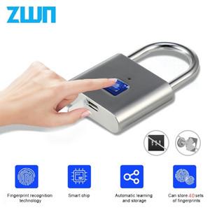 ZWN H1 Keyless USB Wiederaufladbare Fingerabdruck Smart Vorhängeschloss Schnellentriegelung Türschloss Zinklegierung Metall Selbstentwicklung Chip Y200407