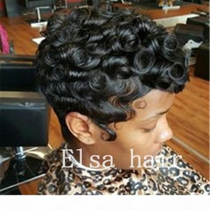 siyah kadın için siyah kısa Kıvırcık saç modelleri parmak dalgaları saç modelleri kapaksız insan saçı peruk