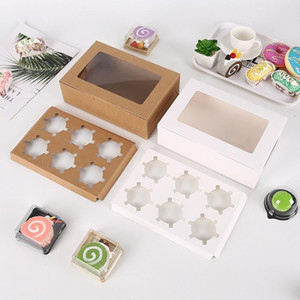 Transparent Windowed Cupcake Boxes White Brown Paper Muffin Box Baking Packing Box Party Gift Box