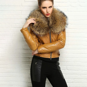 FURSARCAR NEW Genuine Leather Jacket Women Winter Natural Real Raccoon Fur Collar Coat Fashion Luxury Short Fur Jackets 201006