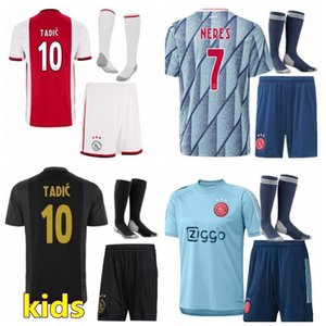 2020 2021 AFC Ajax Kids Soccer Jerseys Sets Setsuits Huntelaar Promes Tadic Neres 20 21 Football Shirt + Shorts with Socks Boys