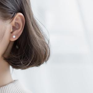 S925 Silver Stud Earrings Womens Korean-Style Fresh Single Diamond Four-Claw Stud Earrings Simple Grace Personality Ear Jewelry E1139