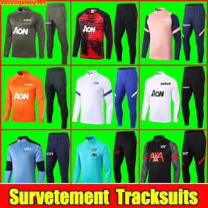 20 21 Manchester treinamento homens Suit Arsen treino VAN DE BEEK survêtement chandal Jogging 2020 2021 Pogba Estados CFC jérsei de futebol