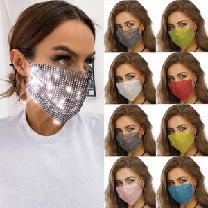 designer face mask fashion masks female men women facemask with drill sun protection bling masks summer decoration rhinestone mask