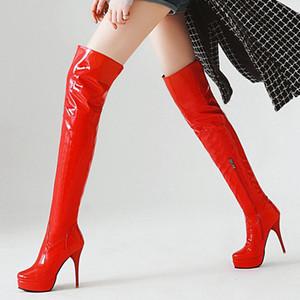 Moda Uyluk Yüksek Boots Kadınlar Sonbahar Kış Üzeri Diz Boots Seksi Platformu Yüksek Topuklar Fetiş Kırmızı Beyaz Ayakkabı Kadın Plus Size 48 C1011