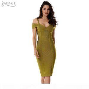 2018 Spring Dress Women Party Bandage Dress Olive Green Off the Shoulder Knee-Length Stunning Celebrity Prom Sexy Bodycon