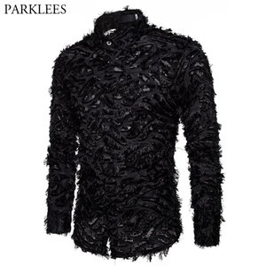 Sexy Black Feather Lace Shirt Men Fashion See Through Clubwear Dress Shirts Mens Event Party Prom Transparent Chemise S-3XL 201021