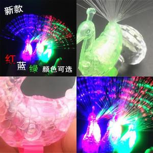 Scolorimento della lampada Peacock Open Screen Schermo in fibra ottica Lampade da dito Bambini Giocattoli regalo Bambini Luminescenza LED Light Fabbrica diretta Vendita diretta 0 39DC P