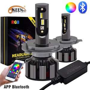 OKEEN RGB Car LED Headlight bulbs H4 H7 LED Headlamp Conversion kit APP Bluetooth Voice Music Control Colorful Bulbs 12V 24V