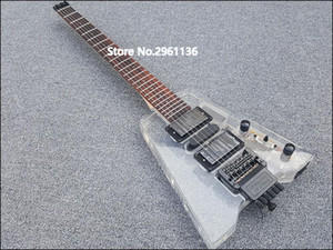 Custom Wholesale High Quality Acrylic Headless Electric Guitar with LED Lights, Provide Customized Services