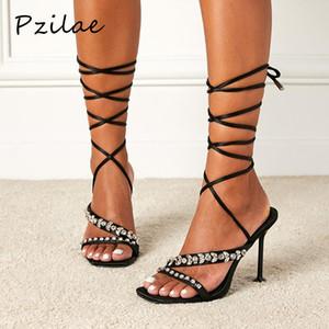Pzilae Elegante Rhinestone Lace Up Toels Sandalias Mujeres Abre Toe Cross-Strap Tacones altos Bombas de fiesta Tallas grandes Zapatos de mujer 42 Negro
