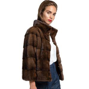 Topfur Herbst Echte Natürliche Jacke Frau Mode Luxuriuou Lange Nerz Pelz Outwear Winter Mantel Warm LJ201203