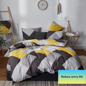 Alanna Модные постельные принадлежности Установите чистый хлопок A / B двухсторонний шаблон Простота простых простыней, одеяла наволочка 4-7 шт.
