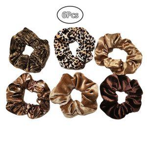 6 adet / paket Yeni Kadın Leopar Baskı Kravat Boya Çiçek Saç Scrunchy Set Yumuşak Kadife Şifon Kauçuk Bant Vintage Saç Kravat Kafa Bandı