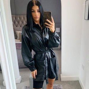 Негабаритные толстые блузки женщины 2020 зима черные искусственные кожаные куртки базовые длинные пальто с поворотным воротником воротник моторный байкер куртка New1