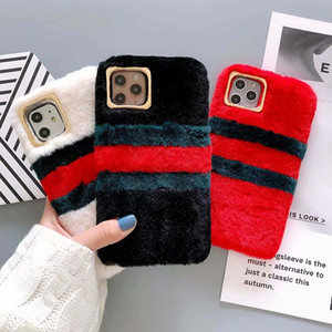 Phone Case for iPhone 11 11Pro 11Pro Max XSMAX XR XS X 7P 8P 7 8 Fashion TPU & Rabbit Hair Phone Shell Winter Protective Sleeve