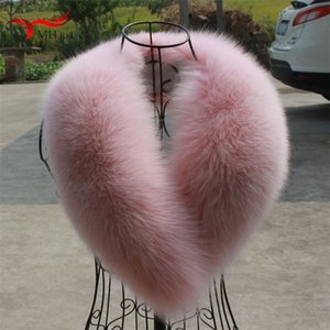 Vero inverno nuova pelliccia pelose rosa scialle donne sciarpa della volpe rivestimento del cappotto femminile collare Y201007
