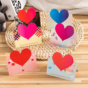 Love Heart Shape Handmade Greeting Card Valentines Day Flower Shop Gift Card Wedding Invitations Card Romantic Thank You Cards YL0232