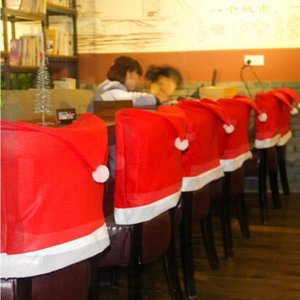 Christmas Sed Sed Cover Creative Red Seat Covers Restaurant Sedie Cappello Ornamenti Merry natale vacanza allegro natale vacanza BWC3360