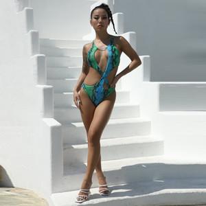 21FW Fashion Women Designer One Piece Swimwear Sexy Printed Swimwear Hollow Out Swimsuit Bandage Women Clothing