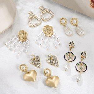 Match-Right Fashion Statement 2020 Big Heart Boucles d'oreilles pour les femmes perle Hanging Dangle Boucles d'oreilles Boucles d'oreilles modernes Bijoux SP1042