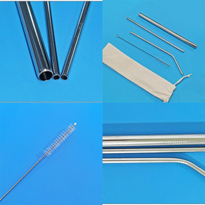 Stainless Steel Straw Straight Bend Tubularis Cleaning Brush 4 Piece Set Metal Straws Metallic Color Coffee Drinks Suction Tubes 2 9km G2
