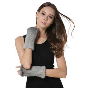 IANLAN Womens Real Fingerless Knitted Gloves Girls Fur Mittens Keyboard Winter Warm Student Writing Glove IL00033