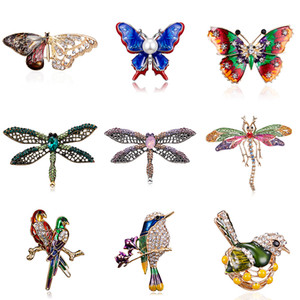 Crystal Vintage Butterfly Dragonfly Brooches Women Large Birds Insect Brooch Fashion Dress Coat Accessories Cute