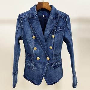 HIGH STREET 새로운 패션 디자이너 블레이저 자켓 여성의 금속 사자 버튼 더블 브레스트 데님 재킷 외부 코트 201,013