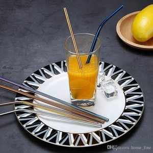 Eco Friendly Reusable Straw 304 Stainless Steel Straw Metal Smoothies Drinking Straws Set with Brush Wholesale