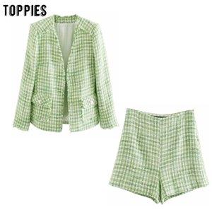 Toppies enrejado de la tela cruzada de tweed capas de la chaqueta de las mujeres conjuntos de primavera damas de ocio chaqueta de cintura alta pantalones cortos verdes 201009 201012