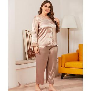 Large size pajamas women's new lace V-Neck long sleeve cardigan suit 2020