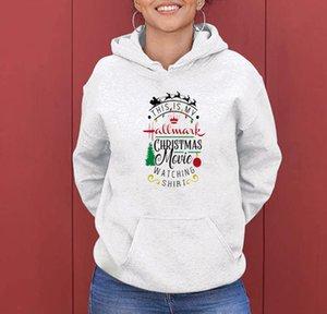 WT20274 jovem moda natal personalidade casual impressão de filme de natal encapuçado pulôver top mulheres camisola