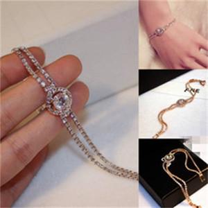 Diseñador Joyería nupcial para bodas de lujo de oro Rhinestones de plata joyería Mujeres Vestido formal Accesorios en stock Pulseras