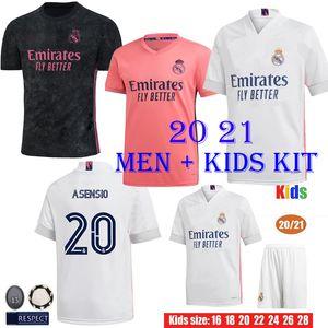 20 21 Реал Мадрид футбол Джерси короткий Home Away Третьих мальчиков Kits футбол рубашка ОПАСНОСТИ ZIDANE Бензема Camiseta De Futbol Мужчины Дети установить тайский