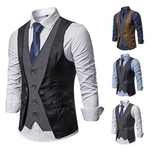 2019 autumn casual slim vest men's European size new men's stitching fake two-piece single-breasted vest