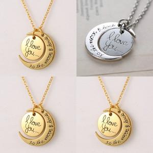 Collar de moda Collar de luna Te amo a la luna y espalda para mamá hermana Familia Colgante de la cadena de enlaces 64 J2