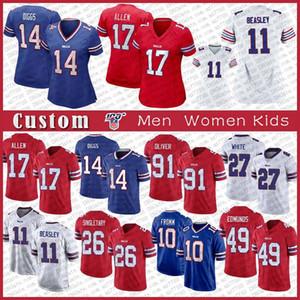 17 Josh Allen 14 Stefon Diggs BuffaloBill personalizado Homens Mulher Kids Jersey Football 11 Cole Beasley 49 Tremaine Edmunds 27 Branco 10 Fromm