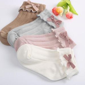 Bambini calzini ragazze calze di pizzo bambino in cotone bowknot princess calzini solidi colorati per bambini traspiranti per bambini 4 colori GWC5463