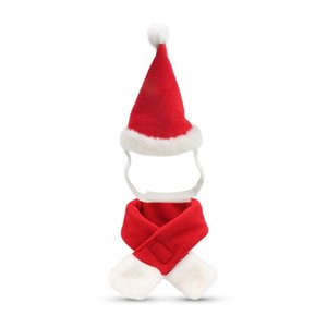 Christmas pet Santa Hat scarf set Pet supplies Christmas Costume Suitable for Small Cats Dogs Pets Accessories