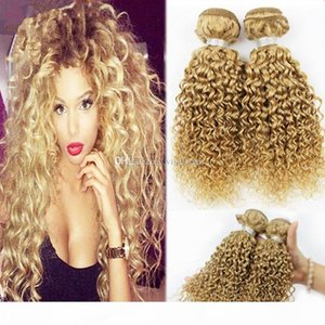 3Pcs Lot Curly Blonde Hair Extensions Brazilian Honey Blonde Human Hair Weft Deep Curly Brazilian Blonde Hair Weave Bundles Free Shipping