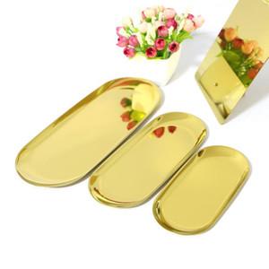 3шт 1 комплект металла хранения Tray Золотая овальная Пунктирная тарелка с фруктами мелких предметов дисплея ювелирных изделий Tray Зеркало Изготовление конфеты Make