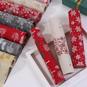 Red Christmas Cloth Snowflake Snowman Merry Long Party Dinner Non-slip Table Runner Cotton Linen Home Decor 270CM