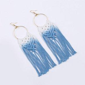 Declaração de coloração Handmade Tassel brincos mulheres Macrame Weave Dangle brincos moda feminina Boho Bijuteria transporte da gota