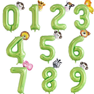40inch Foil Number Balloons Fruit Green Number Ballon Jungle Party Helium Balloon Kids Boy Birthday Baby Shower Globos Decor