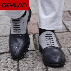Masorini Toe Chaussures Hommes Pointu Robe main en cuir de Oxfords Chaussures formelles Homme 2020 Printemps 47 48 BRM-080