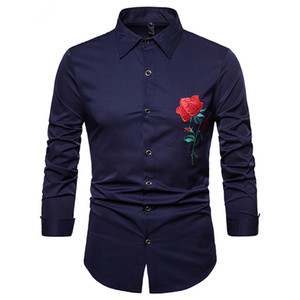 Rose Flower Embroidery Shirt Men Fashion Men Dress Shirt Slim Fit Button Down Party Wedding Dinner